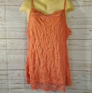 NWT Maurices Coral Lace Trim Tank Top